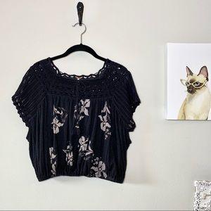 Free People Black Floral Print Crocheted Crop Top